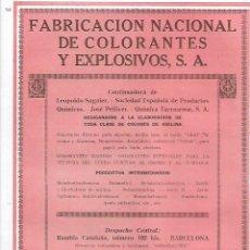 Coleccionismo: AÑO 1927 PUBLICIDAD FABRICACION NACIONAL DE COLORANTES Y EXPLOSIVOS LEOPOLDO SAGNIER PELLICER BCNA . Lote 146916770