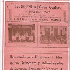 Coleccionismo: AÑO 1927 PUBLICIDAD PELUQUERIA GRAN CONFORT MARCELINO MADRID CUATRO CAMINOS LIMPIABOTAS. Lote 147362686