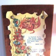 Coleccionismo: CUADRO TÍTULO FALLERO CERTIFICADO DIPLOMA COMISSIÓ FALLAS SEVILLA I DENIA FALLER HONOR VALENCIA 1976. Lote 147449870