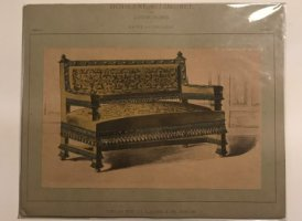 Grabado mueble antiguo. Moderne Sitzmobel. Von Anton Huber. 25,5x20,5 cm