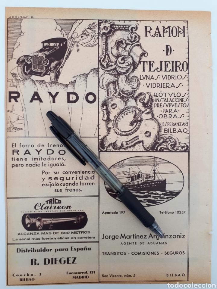 BILBAO. HOJA CON PUBLICIDAD. 1934 (Coleccionismo - Laminas, Programas y Otros Documentos)