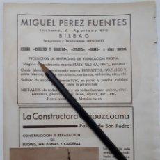 Coleccionismo: BILBAO / PASAJES DE SAN JUAN. HOJA CON PUBLICIDAD. 1934. Lote 147657845
