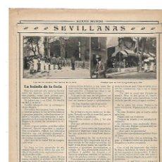 Coleccionismo: AÑO 1913 RECORTE PRENSA FERIA DE SEVILLA SEVILLANAS CASETA AMIGOS DEL ARTE SAN BERNARDO . Lote 148069150