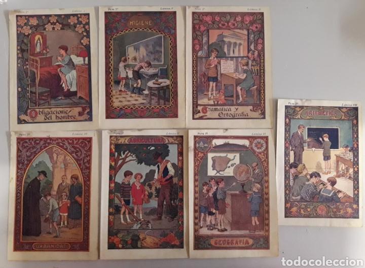 LOTE DE 7 ANTIGUAS LÁMINAS DE COLEGIO. (Coleccionismo - Laminas, Programas y Otros Documentos)