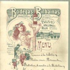 Coleccionismo: C2.- ENOLOGIA - BODEGAS BILBAINAS - VINOS FINOS DE RIOJA - HARO - MENU ESCRITO AÑOS 20. Lote 148198450