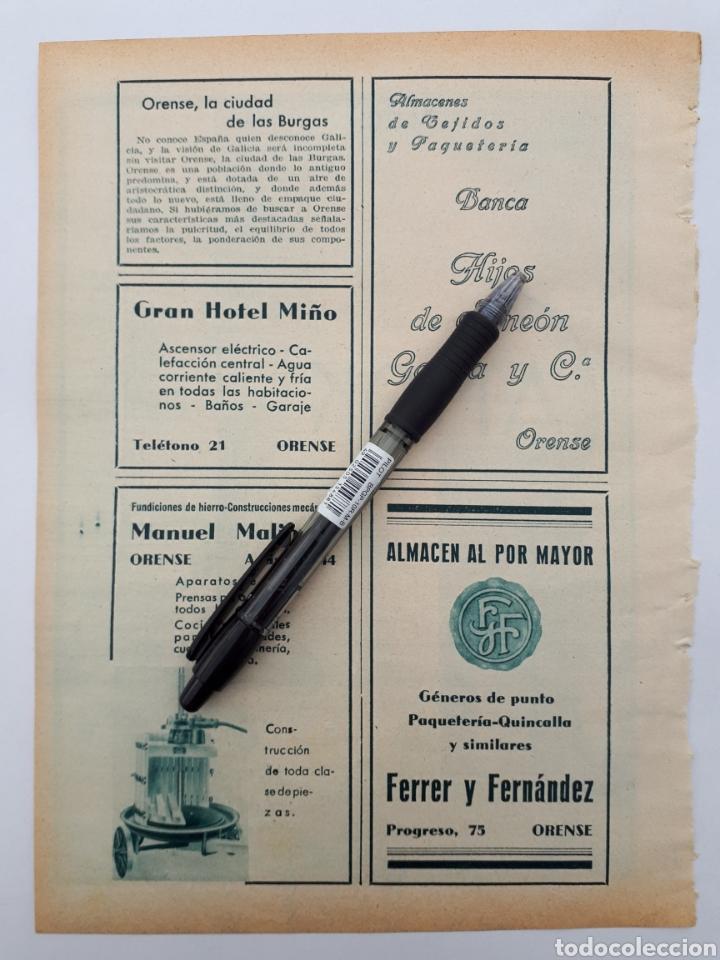 ORENSE. HOJA CON PUBLICIDAD. 1934 (Coleccionismo - Laminas, Programas y Otros Documentos)