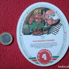 Coleccionismo: POSAVASOS RARE COASTER MAT O SIMIL CERVEZA BEER HEINEKEN LAGER BIER BIRRA LEAGUE THE BIGGEST SINNER . Lote 148653066