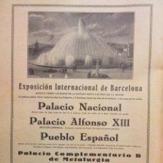 Coleccionismo: PUBLICIDAD 1929 - EXPOSICION BARCELONA . Lote 148914754