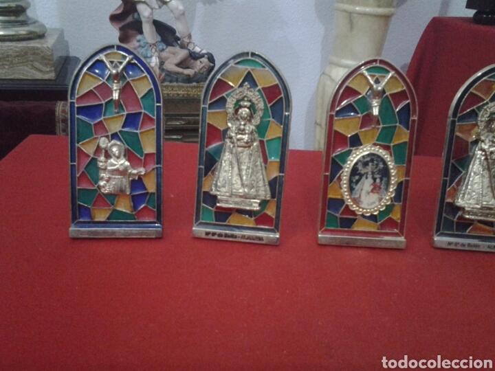 Coleccionismo: Capilla de metal y vidriera lote de 5 piezas - Foto 3 - 149357181