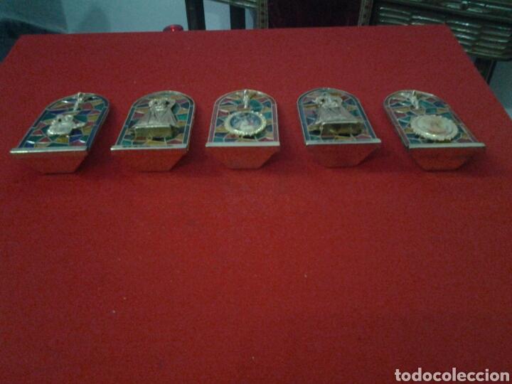 Coleccionismo: Capilla de metal y vidriera lote de 5 piezas - Foto 8 - 149357181