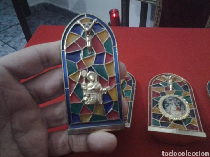 Coleccionismo: Capilla de metal y vidriera lote de 5 piezas - Foto 9 - 149357181