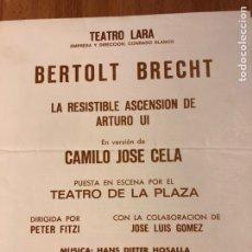 Coleccionismo: PROGRAMA TEATRO LARA BERTOLT BRECHT.CAMILO JOSE CELA. Lote 149486213