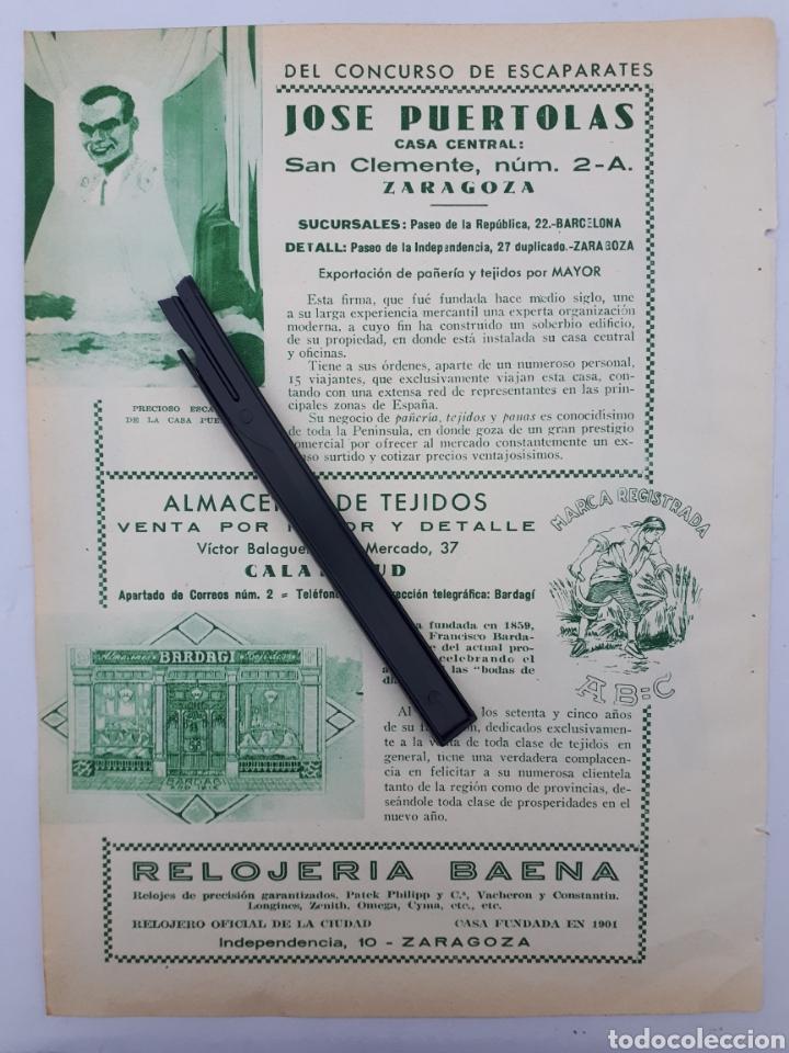 ZARAGOZA. HOJA CON PUBLICIDAD. 1934 (Coleccionismo - Laminas, Programas y Otros Documentos)