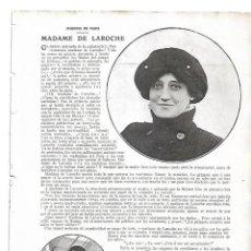 Coleccionismo: AÑO 1910 RECORTE PRENSA AVIACION MADAME DE LAROCHE AVIADORA . Lote 149869378