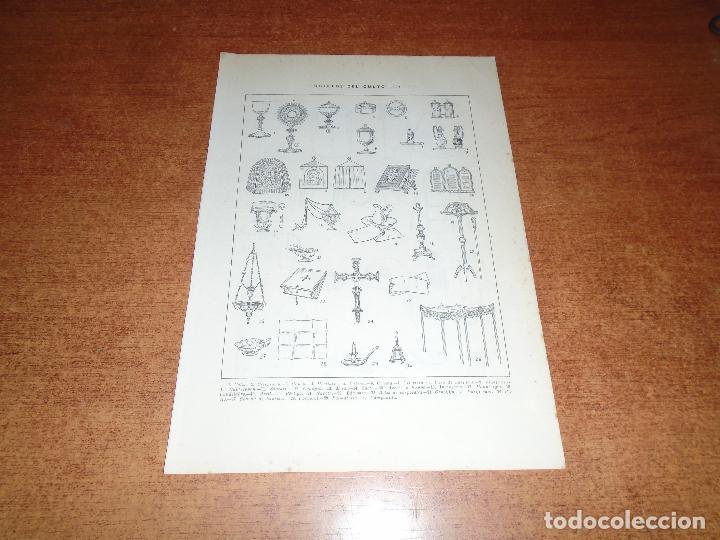 Coleccionismo: LÁMINA ANTIGUA DICCIONARIO ENCICLOPÉDICO : ATRIBUTOS, ORNAMENTOS Y OBJETOS DEL CULTO - Foto 2 - 149905406