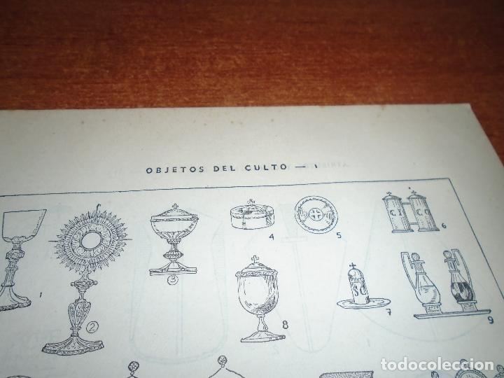 Coleccionismo: LÁMINA ANTIGUA DICCIONARIO ENCICLOPÉDICO : ATRIBUTOS, ORNAMENTOS Y OBJETOS DEL CULTO - Foto 3 - 149905406
