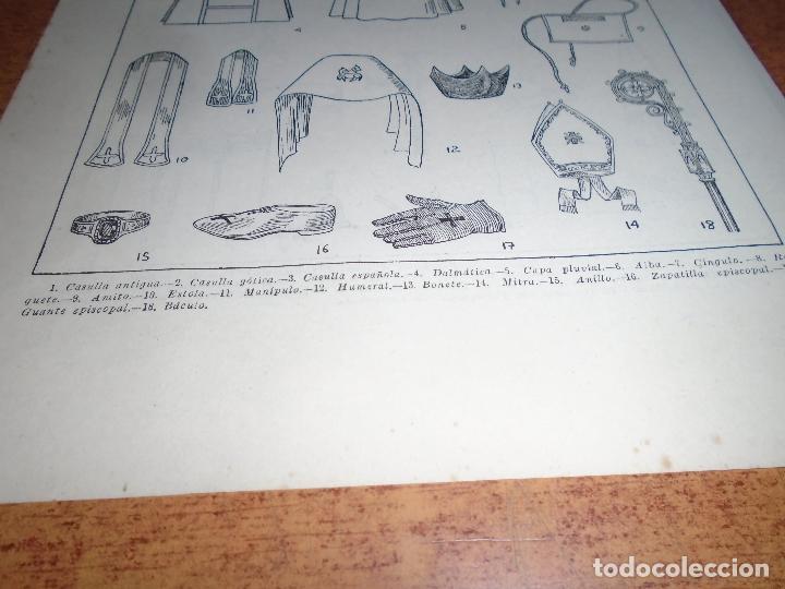 Coleccionismo: LÁMINA ANTIGUA DICCIONARIO ENCICLOPÉDICO : ATRIBUTOS, ORNAMENTOS Y OBJETOS DEL CULTO - Foto 6 - 149905406
