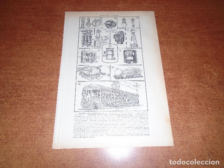 LÁMINA ANTIGUA DICCIONARIO ENCICLOPÉDICO : ELECTRICIDAD (Coleccionismo - Laminas, Programas y Otros Documentos)