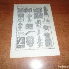 Coleccionismo: LÁMINA ANTIGUA DICCIONARIO ENCICLOPÉDICO : ESTILO ENRIQUE II. Lote 149906950