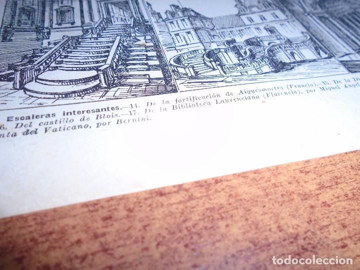 Coleccionismo: LÁMINA ANTIGUA DICCIONARIO ENCICLOPÉDICO : ESCALERAS - Foto 3 - 149906986
