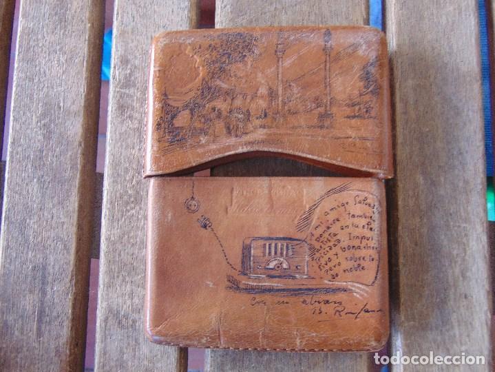 Coleccionismo: PITILLERA DE CUERO PINTADA A PLUMILLA, SEVILLA FC CAMPEONES, SOLEDAD DE BUENAVENTURA, LA ALAMEDA - Foto 4 - 149948110
