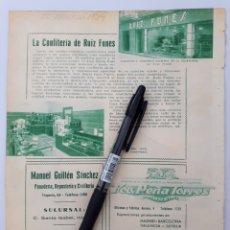 Coleccionismo: MURCIA. HOJA CON PUBLICIDAD. 1934. Lote 150532889