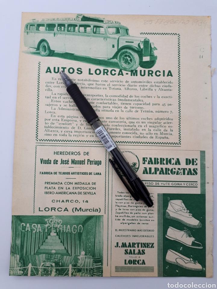 LORCA, MURCIA. HOJA CON PUBLICIDAD. 1934 (Coleccionismo - Laminas, Programas y Otros Documentos)
