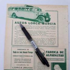 Coleccionismo: LORCA, MURCIA. HOJA CON PUBLICIDAD. 1934. Lote 150533206