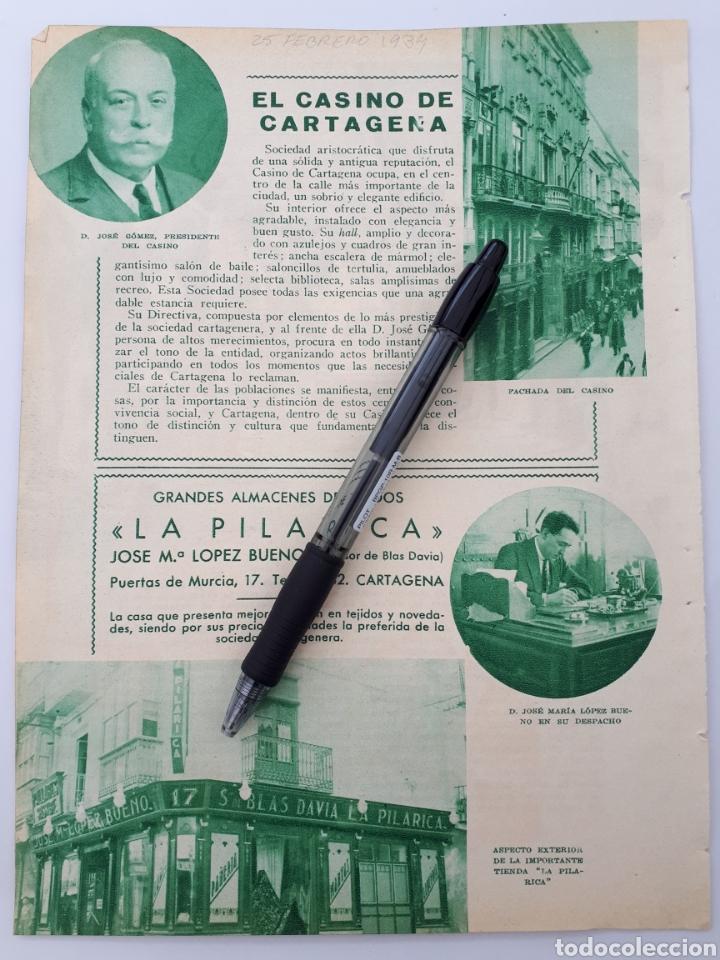 CARTAGENA, MURCIA. HOJA CON PUBLICIDAD. 1934 (Coleccionismo - Laminas, Programas y Otros Documentos)