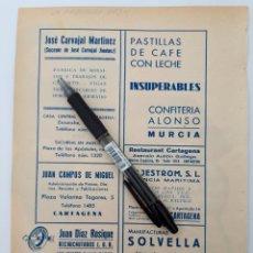 Coleccionismo: MURCIA. HOJA CON PUBLICIDAD. 1934. Lote 150533810