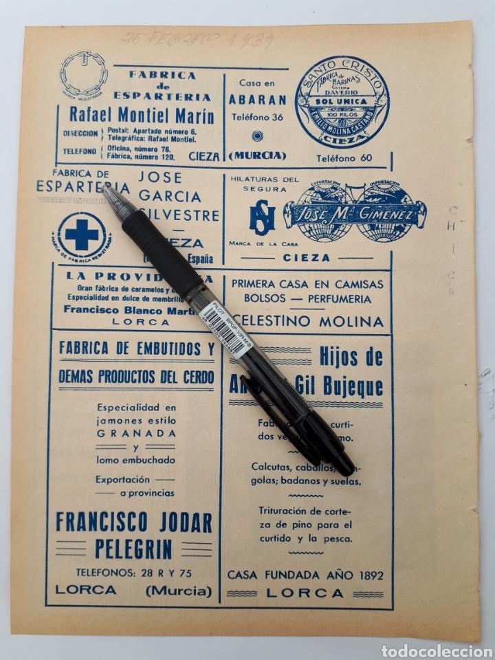 MURCIA. HOJA CON PUBLICIDAD. 1934 (Coleccionismo - Laminas, Programas y Otros Documentos)
