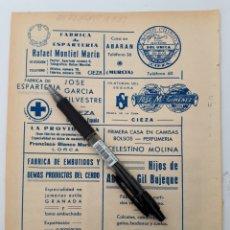 Coleccionismo: MURCIA. HOJA CON PUBLICIDAD. 1934. Lote 150535742