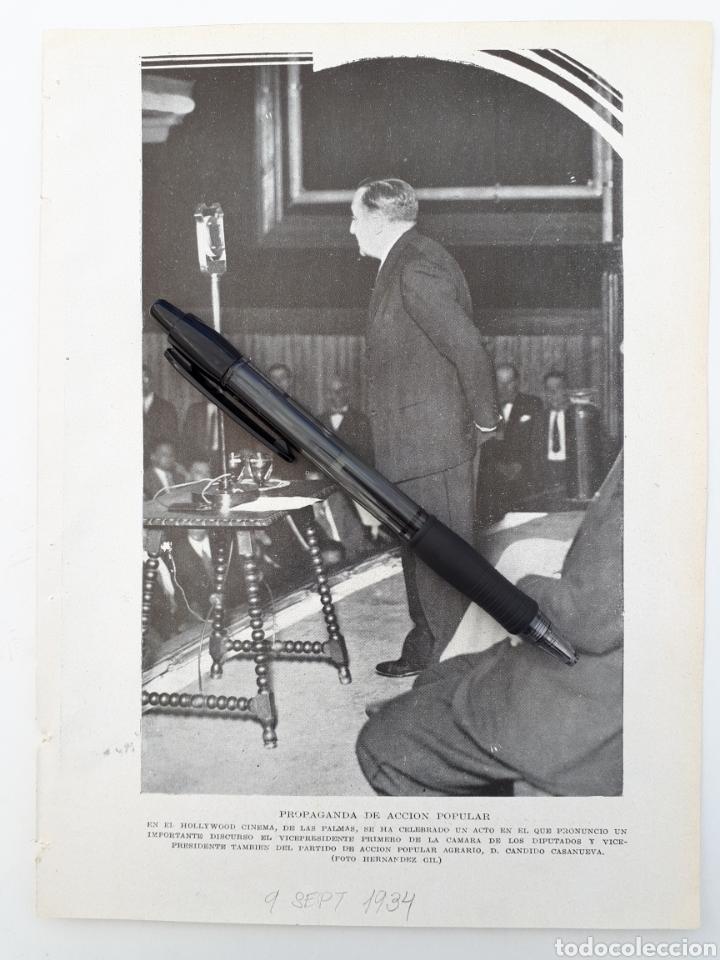 LAS PALMAS. PROPAGANDA DE ACCIÓN POPULAR. 1934 (Coleccionismo - Laminas, Programas y Otros Documentos)