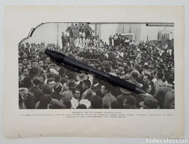 ATARFE ( GRANADA ) ENTIERRO DE UN TORERO INFORTUNADO / BARCELONA. ASALTO AL INSTITUTO AGRÍCOLA. 1934 (Coleccionismo - Laminas, Programas y Otros Documentos)