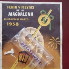 Coleccionismo: PROGRAMA OFICIAL FERIA Y FIESTAS DE LA MAGDALENA 1958 CASTELLON - . Lote 150945214