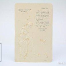 Coleccionismo: ANTIGUA TARJETA INVITACIÓN EN RELIEVE - REUNIÓN FAMILIAR - BADALONA - AÑO 1904. Lote 150964958