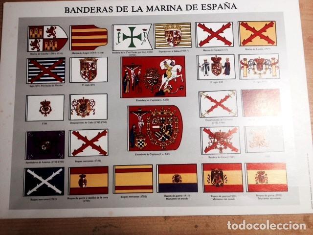 LAMINA DE BANDERAS DE LA MARINA DE ESPAÑA- (Coleccionismo - Laminas, Programas y Otros Documentos)