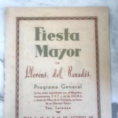 Coleccionismo: PROGRAMA DE FIESTA MAYOR DE LLORENÇ DEL PENEDÈS TARRAGONA 1958.. Lote 151062134