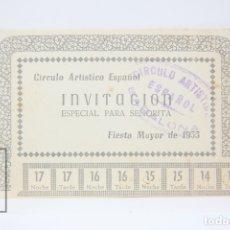 Coleccionismo: TARJETA INVITACIÓN ESPECIAL PARA SEÑORITA - CIRCULO ARTÍSTICO ESPAÑOL - FIESTA MAYOR 1955 - BADALONA. Lote 151065081
