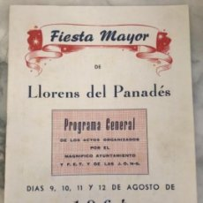 Coleccionismo: PROGRAMA DE FIESTA MAYOR DE LLORENÇ DEL PENEDÈS TARRAGONA 1964.. Lote 151065166