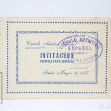 Coleccionismo: INVITACIÓN PARA SEÑORITA - CIRCULO ARTÍSTICO ESPAÑOL - FIESTA MAYOR 1953 - BADALONA - HORARIO TRENES. Lote 151065818