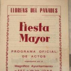 Coleccionismo: PROGRAMA DE FIESTA MAYOR DE LLORENÇ DEL PENEDÈS TARRAGONA 1968.. Lote 151065826