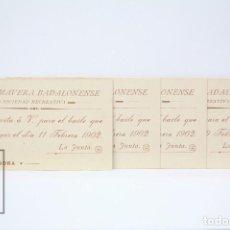 Coleccionismo: 4 INVITACIONES SEÑORITA - LA PRIMAVERA BADALONENSE, SOCIEDAD RECREATIVA - BAILE AÑO 1902 - BADALONA . Lote 151066542