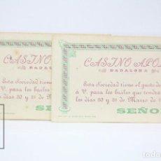 Coleccionismo: 2 INVITACIONES SEÑORITA - CASINO APOLO - BAILE 30 Y 31 DE MARZO DE 1902 - BADALONA . Lote 151067582