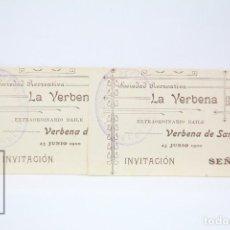Coleccionismo: 2 INVITACIONES SEÑORITA - SOCIEDAD RECREATIVA - BAILE VERBENA DE SAN JUAN - AÑO 1900 - BADALONA. Lote 151068014
