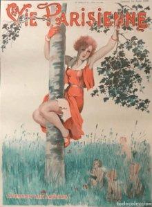1930 La Vie Parisienne. Lámina original sobre cartulina negra preparada para enmarcar 40x50 cm