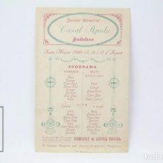 Coleccionismo: PROGRAMA DE FIESTA MAYOR - SOCIEDAD RECREATIVA - CASAL APOLO - 15 AL 17 AGOSTO DE 1920 - BADALONA. Lote 151091998