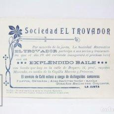 Coleccionismo: ANTIGUA INVITACIÓN DE INAUGURACIÓN - SOCIEDAD EL TROVADOR - CALLE BOQUER ESQUINA MONTCADA, BARCELONA. Lote 151094474