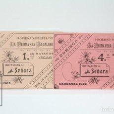 Coleccionismo: 2 INVITACIONES-SOCIEDAD RECRATIVA LA PRIMAVERA BADALONENSE- 1º Y 4º BAILE DE MÁSCARAS- CARNAVAL 1903. Lote 151096030