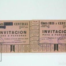 Coleccionismo: 2 INVITACIONES - CINES IRIS Y CENTRAL BARCELONA - DIFERENTES SESIONES - AÑO 1949. Lote 151096718